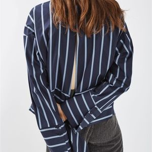 Topshop Blue Striped Open Back Button Up Top